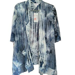 KAMANA Shades of Blue. Mesh Accents. Open Cardigan